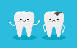 Happy and decayed Cartoon teeth